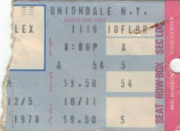 Ticket stub - Queen live at the Nassau Coliseum, Uniondale, Long Island, NY, USA [19.11.1978]