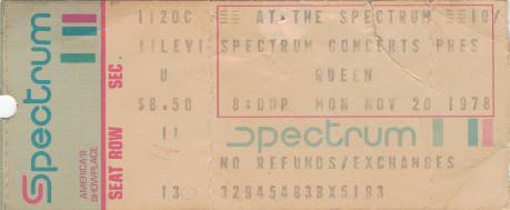 Ticket stub - Queen live at the The Spectrum, Philadelphia, PA, USA [20.11.1978]
