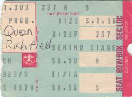 Ticket stub - Queen live at the Coliseum, Richfield, OH, USA [25.11.1978]