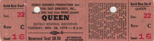 Ticket stub - Queen live at the War Memorial Auditorium, Buffalo, NY, USA [28.11.1978]