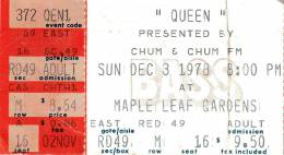 Ticket stub - Queen live at the Maple Leaf Gardens, Toronto, Canada [03.12.1978]