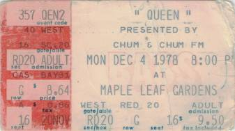 Ticket stub - Queen live at the Maple Leaf Gardens, Toronto, Canada [04.12.1978]