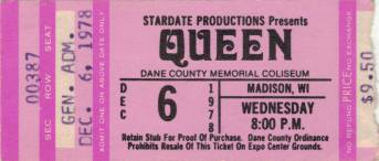 Ticket stub - Queen live at the Dane County Coliseum, Madison, WI, USA [06.12.1978]