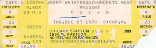 Ticket stub - Queen live at the Stadium, Chicago, IL, USA [07.12.1978]
