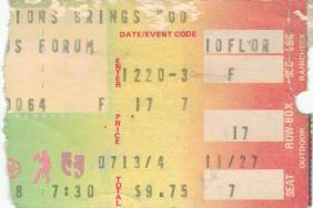 Ticket stub - Queen live at the Forum, Inglewood, CA, USA [20.12.1978]
