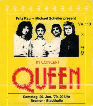 Ticket stub - Queen live at the Stadthalle, Bremen, Germany [20.01.1979]