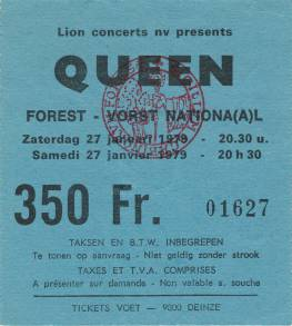 Ticket stub - Queen live at the Forest National, Brussels, Belgium [27.01.1979]