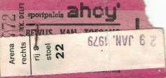Ticket stub - Queen live at the Ahoy Hall, Rotterdam, The Netherlands [29.01.1979]