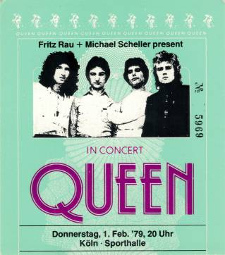 Ticket stub - Queen live at the Sporthalle, Cologne, Germany [01.02.1979]