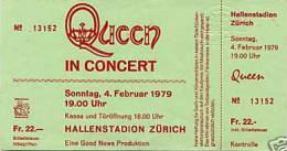 Ticket stub - Queen live at the Hallenstadium, Zurich, Switzerland [04.02.1979]