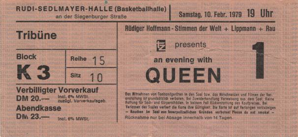 Ticket stub - Queen live at the Rudi Sedlmayer Halle, Munich, Germany [10.02.1979]
