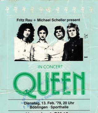 Ticket stub - Queen live at the Sporthalle, Boblingen, Germany [13.02.1979]