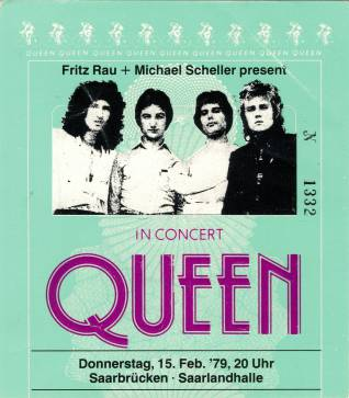 Ticket stub - Queen live at the Saarlandhalle, Saarbrücken, Germany [15.02.1979]
