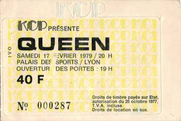 Ticket stub - Queen live at the Palais Des Sports, Lyon, France [17.02.1979]
