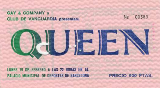 Ticket stub - Queen live at the Palacio De Deportes, Barcelona, Spain [19.02.1979]
