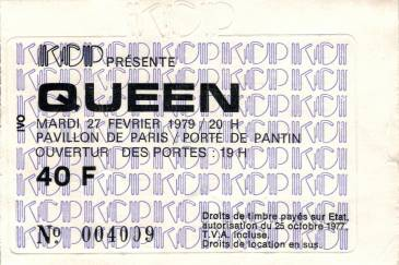 Ticket stub - Queen live at the Pavillon De Paris, Paris, France [27.02.1979]