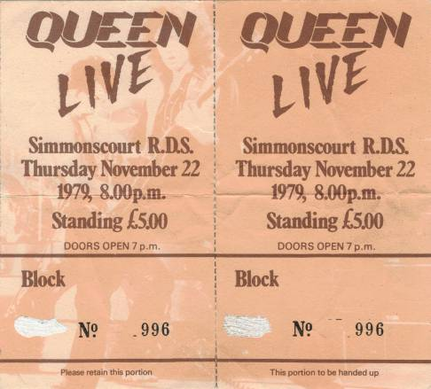 Ticket stub - Queen live at the RDS Simmons Hall, Dublin, Ireland [22.11.1979]