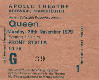 Ticket stub - Queen live at the Apollo Theatre, Manchester, UK [26.11.1979]
