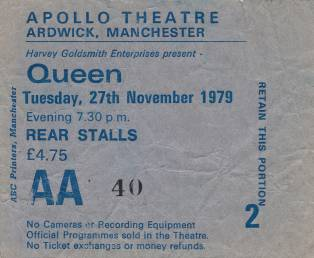 Ticket stub - Queen live at the Apollo Theatre, Manchester, UK [27.11.1979]