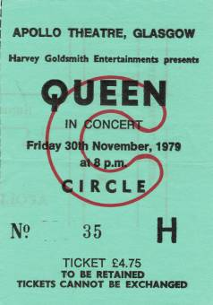 Ticket stub - Queen live at the Apollo Theatre, Glasgow, UK [30.11.1979]
