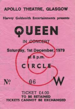 Ticket stub - Queen live at the Apollo Theatre, Glasgow, UK [01.12.1979]