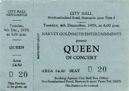 Ticket stub - Queen live at the City Hall, Newcastle, UK [04.12.1979]