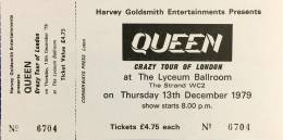 Ticket stub - Queen live at the Lyceum Ballroom, London, UK [13.12.1979]