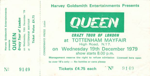 Ticket stub - Queen live at the Tottenham Mayfair, London, UK [19.12.1979]