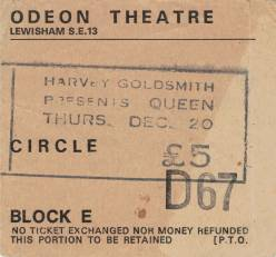 Ticket stub - Queen live at the Lewisham Odeon, London, UK [20.12.1979]