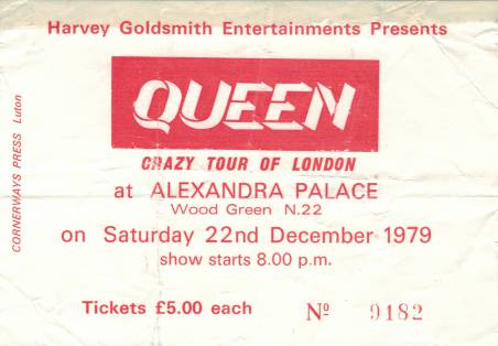 Ticket stub - Queen live at the Alexandra Palace, London, UK [22.12.1979]