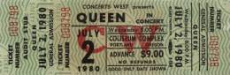 Ticket stub - Queen live at the Coliseum, Portland, OR, USA [02.07.1980]