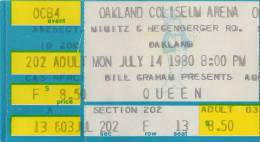 Ticket stub - Queen live at the Oakland Coliseum Arena, Oakland, CA, USA [14.07.1980]