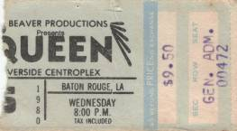 Ticket stub - Queen live at the Riverside Centroplex, Baton Rouge, LA, USA [06.08.1980]