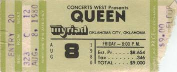 Ticket stub - Queen live at the Myriad, Oklahoma City, OK, USA [08.08.1980]
