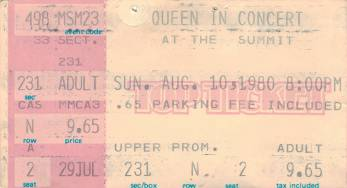 Ticket stub - Queen live at the Summit, Houston, TX, USA [10.08.1980]