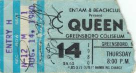 Ticket stub - Queen live at the Coliseum, Greensboro, NC, USA [14.08.1980]