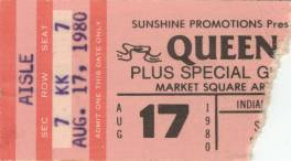 Ticket stub - Queen live at the Market Square Arena, Indianapolis, IN, USA [17.08.1980]