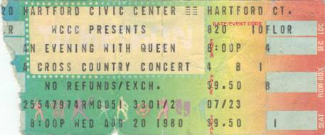 Ticket stub - Queen live at the Civic Centre, Hartford, CT, USA [20.08.1980]