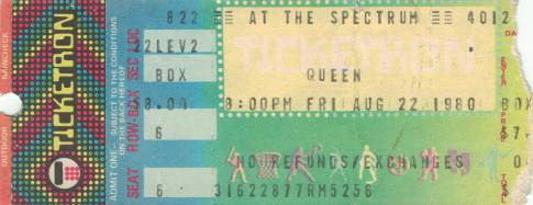Ticket stub - Queen live at the The Spectrum, Philadelphia, PA, USA [22.08.1980]
