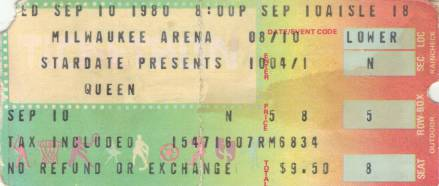 Ticket stub - Queen live at the Mecca, Milwaukee, WI, USA [10.09.1980]