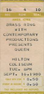 Ticket stub - Queen live at the Hilton Coliseum, Ames, IA, USA [16.09.1980]