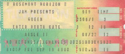 Ticket stub - Queen live at the Rosemont Horizon, Rosemont, IL, USA [19.09.1980]