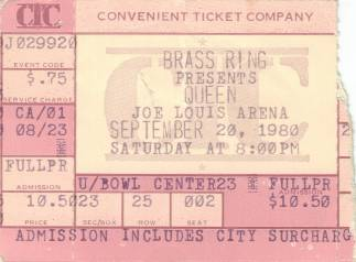Ticket stub - Queen live at the Joe Louis Arena, Detroit, MI, USA [20.09.1980]