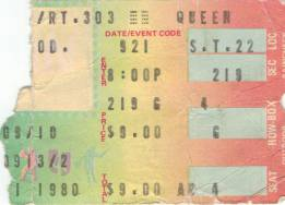Ticket stub - Queen live at the Coliseum, Richfield, OH, USA [21.09.1980]