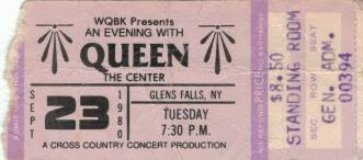 Ticket stub - Queen live at the Civic Center, Glens Falls, NY, USA [23.09.1980]