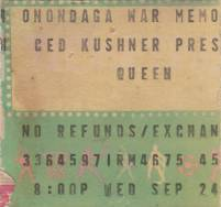 Ticket stub - Queen live at the War Memorial Auditorium, Syracuse, NY, USA [24.09.1980]