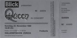 Ticket stub - Queen live at the Hallenstadion, Zurich, Switzerland [23.11.1980]