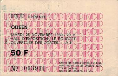 Ticket stub - Queen live at the Le Bourget La Rotonde, Paris, France [25.11.1980]