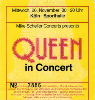 Ticket stub - Queen live at the Sporthalle, Cologne, Germany [26.11.1980]