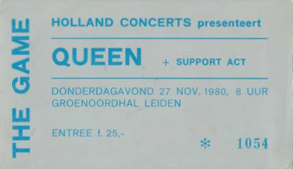 Ticket stub - Queen live at the Groenoordhallen, Leiden, The Netherlands [27.11.1980]